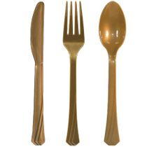 Gold Plastic Cutlery 51ct.
