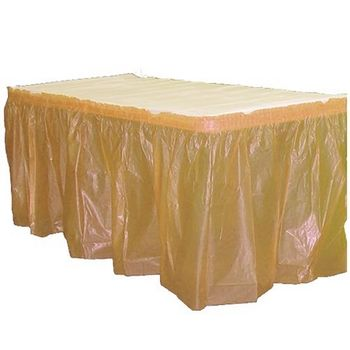 Gold Plastic Rectangular Table Skirt 14ft.x29in