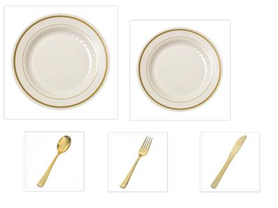 """Gold Splendor Ivory/Gold 10 1/4"""" Dinner Plates + 7"""" Salad Plates + Gold Cutlery *Party of 100*"""