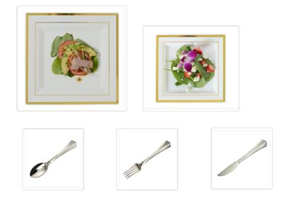 """Gold Splendor Square Ivory w/ Gold Band 10"""" Dinner Plates + 7.25"""" Salad Plates + Cutlery *Party for 40*"""