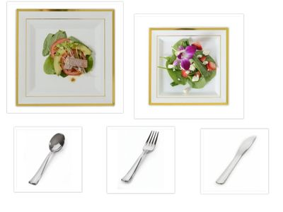 """Gold Splendor Square Ivory w/ Gold Band 10"""" Dinner Plates + 7.25"""" Salad Plates + Cutlery *Party for 60*"""