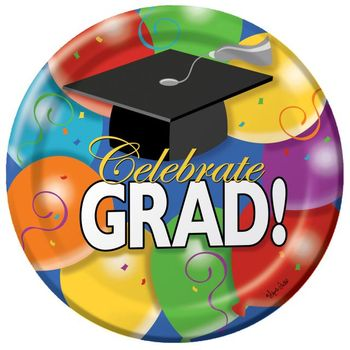 "Grad Balloons 10"" Graduation Party Paper Plate 8ct."