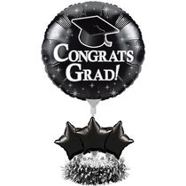 Graduation Air Filled Black Balloon Kit Centerpiece