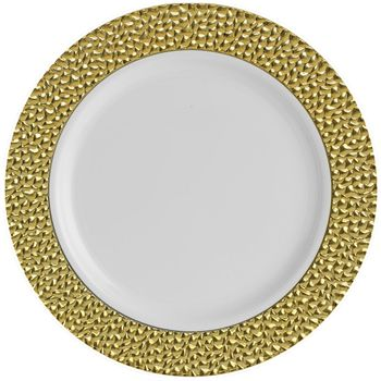 """Hammered Collection 10 1/4"""" White w/ Gold Hammered Border Banquet Plastic Plates 10ct."""