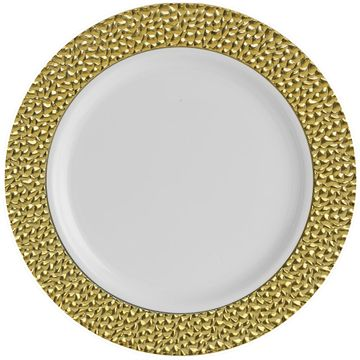 "Hammered Collection 10 1/4"" White w/ Gold Hammered Border Banquet Plastic Plates 10ct."