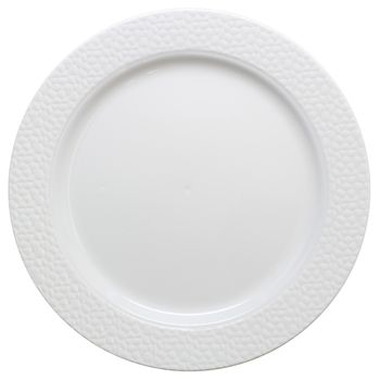 "Hammered Collection 10 1/4"" White w/ White Hammered Border Banquet Plastic Plates *Case of 120*"