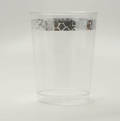 Hammered Collection 10oz. Clear Plastic Cup with Silver Hammered Border 10ct.