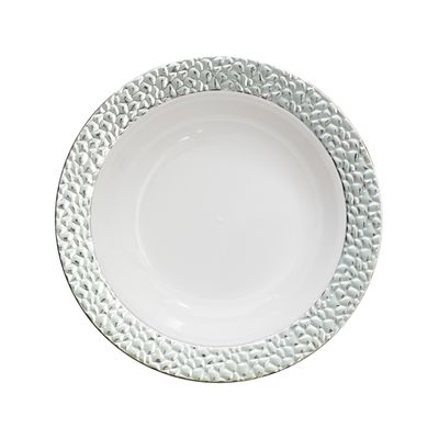 Hammered Collection 12oz. White w/ Silver Hammered Border Plastic Bowls 10ct.