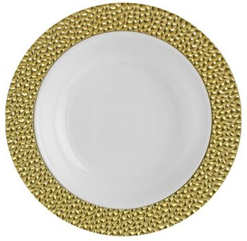 Hammered Collection 5oz. White w/ Gold Hammered Border Plastic Bowls 10ct
