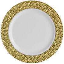 "Hammered Collection 9"" White w/ Gold Hammered Border Luncheon Plastic Plates 10ct."