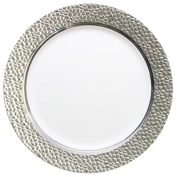 "Hammered Collection 9"" White w/ Silver Hammered Border Luncheon Plastic Plates 10ct."