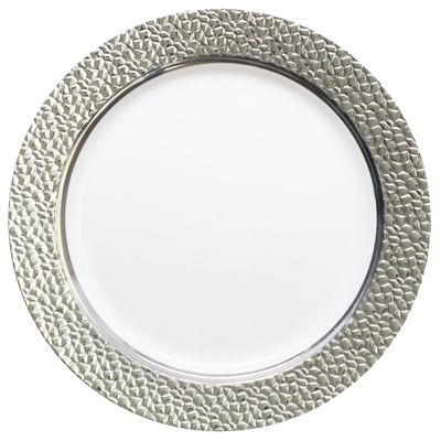 """Hammered Collection 9"""" White w/ Silver Hammered Border Luncheon Plastic Plates 10ct."""
