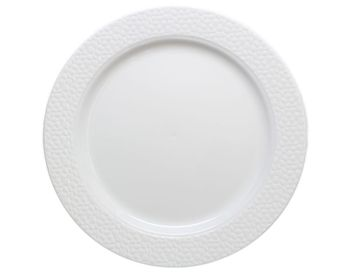 "Hammered Collection 9"" White w/ White Hammered Border Luncheon Plastic Plates *Case of 120*"