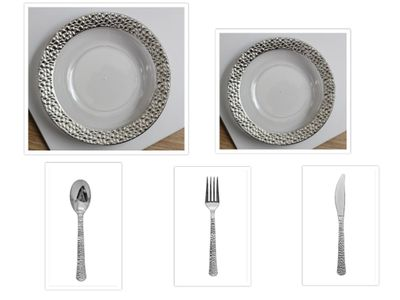 "Hammered Collection Clear w/Silver Hammered Border China-Like Plastic 9"" Dinner Plates + 7"" Salad Plates + Cutlery *Party for 40*"