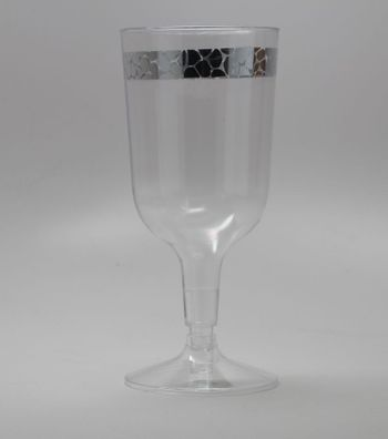 Hammered Collection Clear w/ Silver Hammered Border Plastic Wine Goblets 10ct.