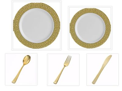 "Hammered Collection White w/Gold Hammered Border China-Like Plastic 10"" Dinner Plates + 7"" Salad Plates + Cutlery *Party of 100*"