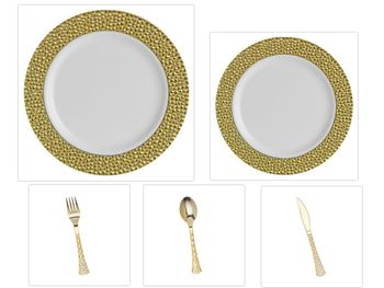 """Hammered Collection White w/Gold Hammered Border China-Like Plastic 9"""" Dinner Plates + 7"""" Salad Plates + Cutlery *Party for 60*"""