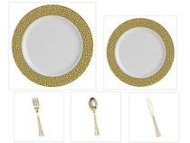 "Hammered Collection White w/Gold Hammered Border China-Like Plastic 9"" Dinner Plates + 7"" Salad Plates + Cutlery *Party for 60*"