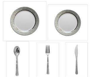 """Hammered Collection White w/Silver Hammered Border China-Like Plastic 10"""" Dinner Plates + 7"""" Salad Plates + Cutlery *Party for 100*"""