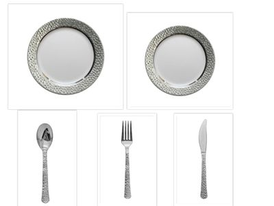 """Hammered Collection White w/Silver Hammered Border China-Like Plastic 9"""" Dinner Plates + 7"""" Salad Plates + Cutlery *Party for 40*"""