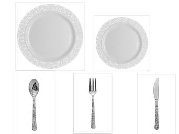 """Hammered Collection White w/White Hammered Border China-Like Plastic 9"""" Dinner Plates + 7"""" Salad Plates + Cutlery *Party for 120*"""