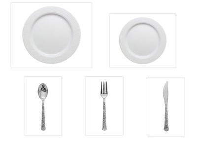 """Hammered Collection White w/White Hammered Border China-Like Plastic 9"""" Dinner Plates + 7"""" Salad Plates + Cutlery *Party for 40*"""