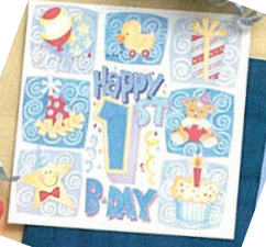 Happy 1st Birthday Boys Beverage Napkins 16ct.
