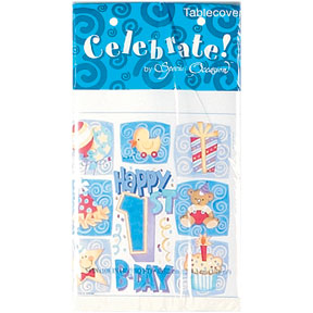 "Happy 1st Birthday Boys Plastic Tablecloths 54"" x 108"""