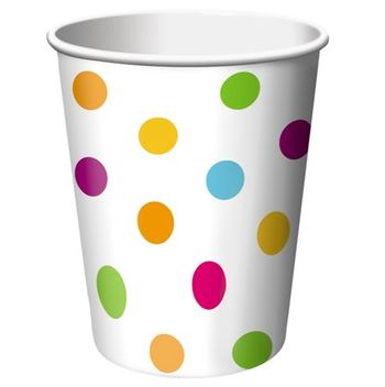 Happy Dots 9 Oz Hot/Cold Cup, 8 count