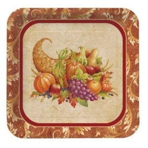 "Harvest Cornucopia Thanksgiving 7"" Dessert Plate 8 ct."