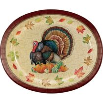 "Harvest Turkey 12"" Thanksgiving Oval Plates/Platters 8ct."