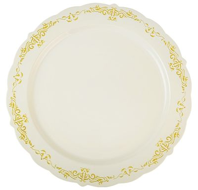 "Heritage Bone w/ Gold Trim 10"" Plastic Dinner Plates, 10ct."