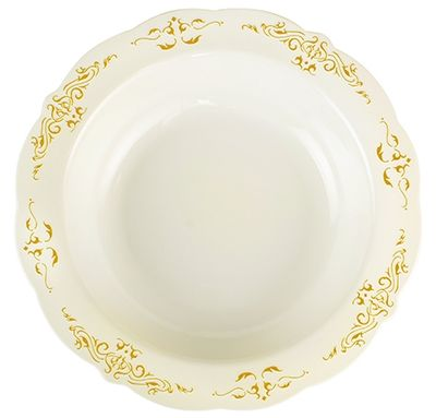 Heritage Bone w/Gold Trim Plastic 10oz. Soup Bowls, 10 ct.