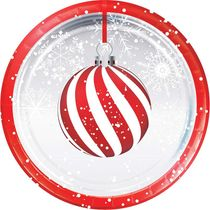 "Holiday Ornaments 7"" Christmas Dessert Paper Plates, 8 count"