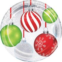 "Holiday Ornaments 9"" Christmas Dinner Paper Plates, 8 count"