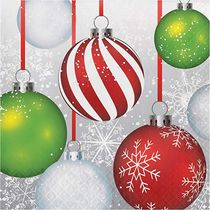 Holiday Ornaments Christmas Paper Lunch Napkins, 16 count