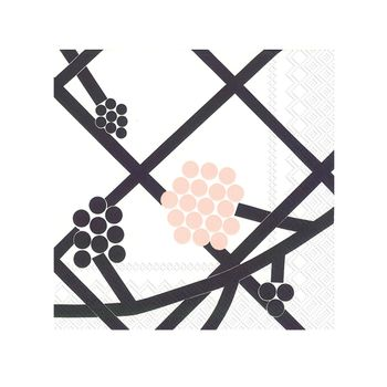 Hortensie Black and White Lunch Napkins With Elegant PInk Design 20count