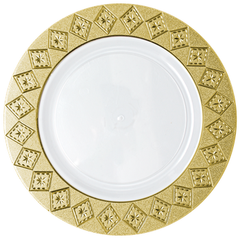 "Imperial 10 1/4"" White w/ Gold Diamond Cut Border Banquet Plastic Plates 10ct."