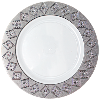 "Imperial 7"" White w/ Silver Diamond Cut Border Dessert Plastic Plates 10ct."
