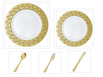 """Imperial Collection White w/Gold Diamond Cut Border China-Like Plastic 10.25"""" Dinner Plates + 7"""" Salad Plates + Cutlery *Party for 100*"""