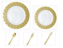"Imperial Collection White w/Gold Diamond Cut Border China-Like Plastic 10.25"" Dinner Plates + 7"" Salad Plates + Cutlery *Party for 60*"