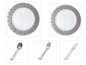 """Imperial Collection White w/Silver Diamond Cut Border China-Like Plastic 10.25"""" Dinner Plates + 7"""" Salad Plates + Cutlery *Party for 100*"""