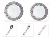 "Imperial Collection White w/Silver Diamond Cut Border China-Like Plastic 10.25"" Dinner Plates + 7"" Salad Plates + Cutlery *Party for 120*"