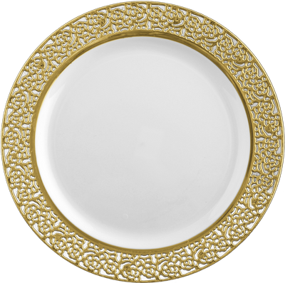 "Inspiration 10 1/4"" White w/ Gold Lace Banquet Plastic Plates 10ct."