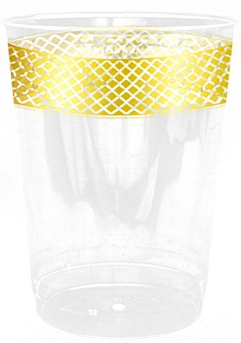 Inspiration 10oz. Clear Plastic Cup with Gold Lace Border 10ct.