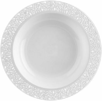 Inspiration 12oz. White w/ White Lace Border Plastic Bowls *Case of 120*