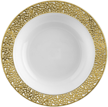 Inspiration 5oz. White w/ Gold Lace Border Plastic Bowls 10ct.