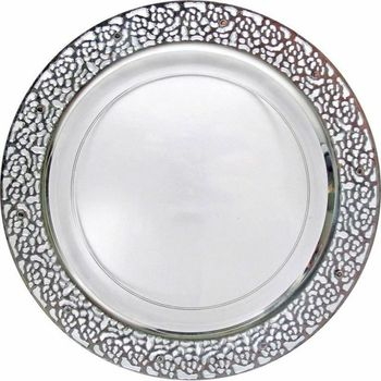 "Inspiration 7"" Clear w/ Silver Lace Border Salad / Cake Plastic Plates *Case of 120*"