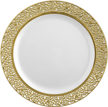 """Inspiration 9"""" White w/ Gold Lace Border Luncheon Plastic Plates *Case of 120*"""