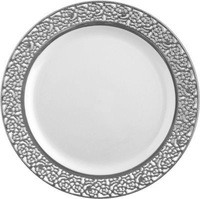 """Inspiration 9"""" White w/ Silver Lace Luncheon Plastic Plates *Case of 120*"""